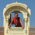 Maharini (Frau des Maharajas) auf ihrem Balkon