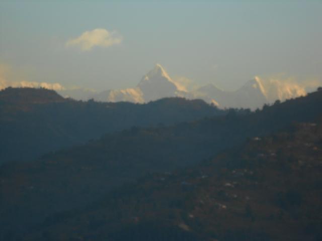 Aussicht von unserer Küche auf das Annapurnamassiv (8000 m) morgends um 6.30