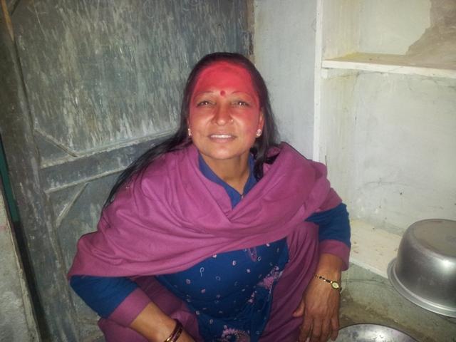Srimati (die Ehefrau Sita) vom Stoffladenbesitzer