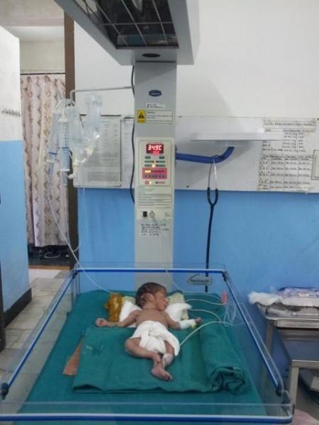 Baby 1 + 2 liegen im Wärmebett